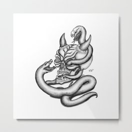 Skull - Devil Heads with Snake Metal Print