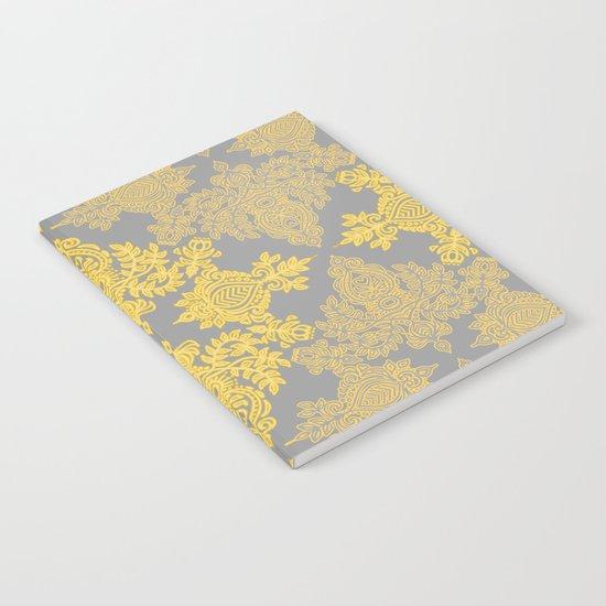 Golden Folk - doodle pattern in yellow & grey Notebook