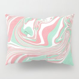 Elegant pink green abstract watercolor marble Pillow Sham