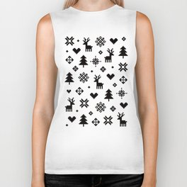 PIXEL PATTERN - WINTER FOREST Biker Tank