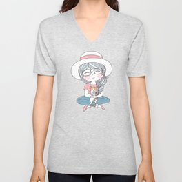 Comic Girl With Hat And Cute Dog Unisex V-Neck