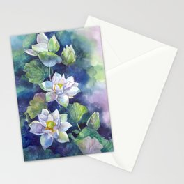 Watercolor lotos flowers art Stationery Cards