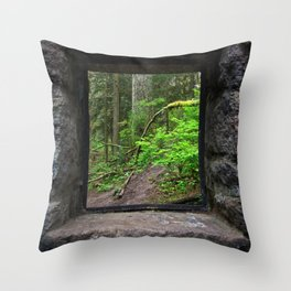 Stone House Window Throw Pillow