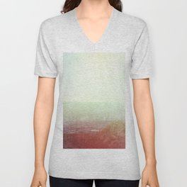 Abstract pastel mint green pink red summer nature landscape Unisex V-Neck