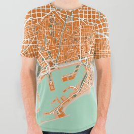 Barcelona city map orange All Over Graphic Tee