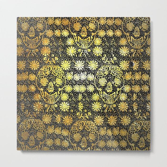 Gold Tiled Sugar Skulls Metal Print