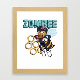 Zombee Zombie Bee Halloween for Beekeeper Apiarist Dark Light Framed Art Print