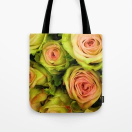 Green & Pink Bouquet Tote Bag
