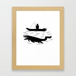 Mosasaurus Fisherman Funny Dinosaur Gift Framed Art Print