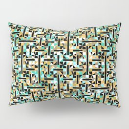 grid in brown and green with shapes Pillow Sham