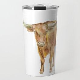 Texas Longhorn Steer Watercolor Travel Mug