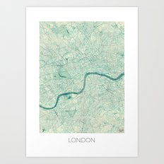 London Map Blue Vintage Art Print