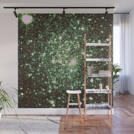 Green Gold Galaxy Sparkle Stars Wall Mural