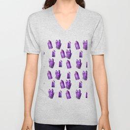 Purple Crystals Unisex V-Neck