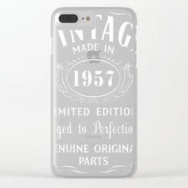 60th-Birthday-Gift-Idea-T-Shirt-Vintage-Made-In-1957 Clear iPhone Case