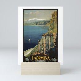 Vintage Taormina Sicily Italian travel ad Mini Art Print