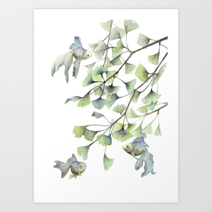 Mint Green Ginkgo Leaves And Green Goldfish Watercolor Design Art
