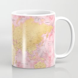 Gold and pink marble world map Coffee Mug