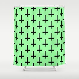 Black and Green Inverted Cross Pattern Shower Curtain