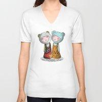 wonderland V-neck T-shirts featuring wonderland by Agnes Laczo