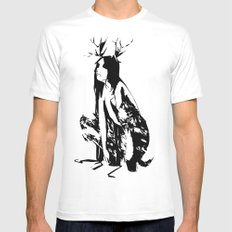 satyr White Mens Fitted Tee MEDIUM