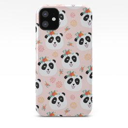 Panda bear with flowers seamless pattern iPhone Case