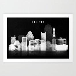 Boston - Black and White Skyline арт work Art Print