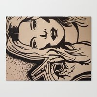 kate moss Canvas Prints featuring Kate Moss by Brianna Benson