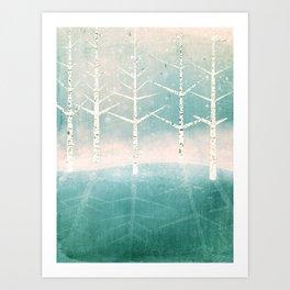 Winter birches by the lake Art Print