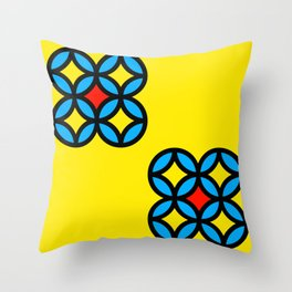 Colored Circles on Yellow Board Throw Pillow