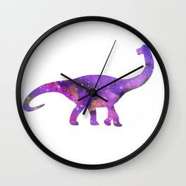 Dinosaur Brachiosaurus Art Print Wild Animals Nursery Decor Kids Room Watercolor Pint Purple Art Wall Clock