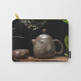 Japanese Teapot with Lotus Blossom Flower Carry-All Pouch
