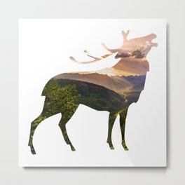 Elk Silhouette with Wilderness Inlay Metal Print