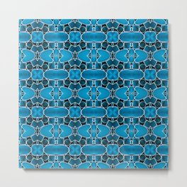 180 - blue, black and metal abstract design Metal Print