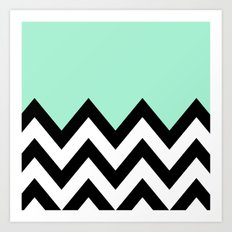 MINT GREEN COLORBLOCK CHEVRON Art Print