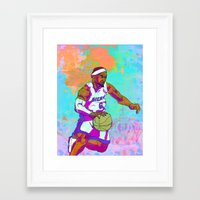 lebron Framed Art Prints featuring LeBron James by Maddison Bond