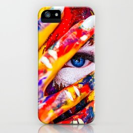 Women with paint on her hands and face iPhone Case