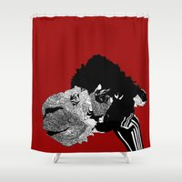 alpaca Shower Curtains featuring Alpaca by caseysplace