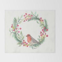 Christmas Wreath Robin Throw Blanket