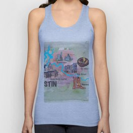 Austin Texas Favorite Map with touristic Top Ten Highlights in Colorful Retro Style Unisex Tank Top