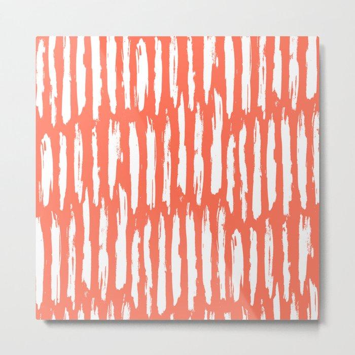 Vertical Dash White on Deep Coral Metal Print