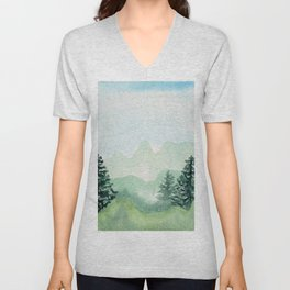 Watercolor forest mountainscape Unisex V-Neck