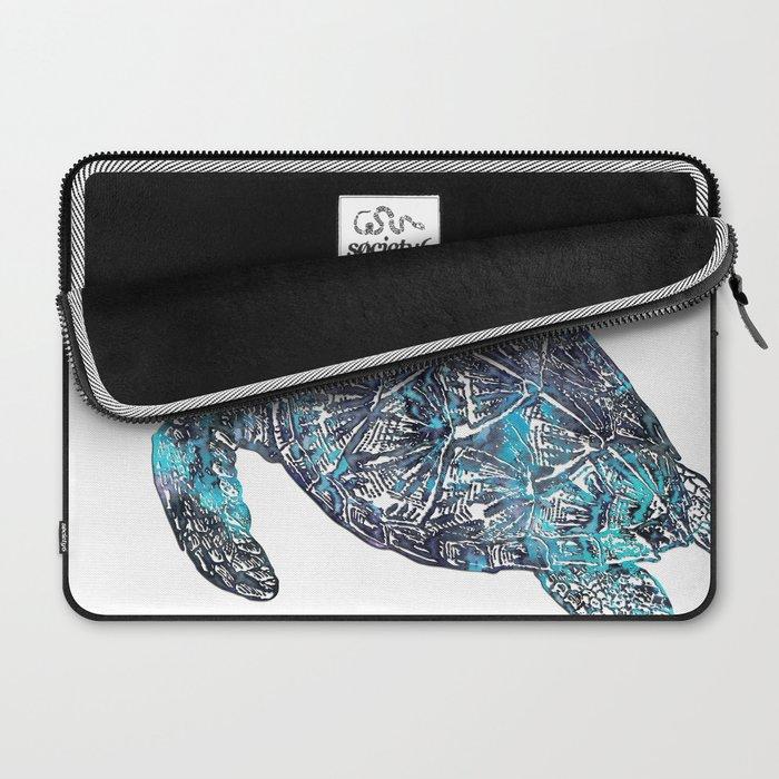 Sea Turtle Blue Watercolor Art Laptop Sleeve