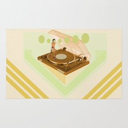 the girl who was roller skating on a record player... Rug