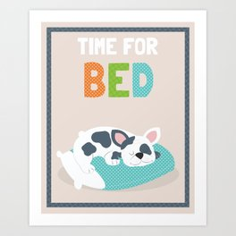 Time for Bed cute illustrated children's bathroom art print with puppy character design Art Print