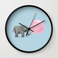 grey Wall Clocks featuring Jumbo Bubble Gum  by Terry Fan
