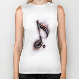 Burning Music Note Biker Tank