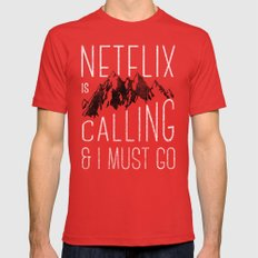 Netflix is calling Mens Fitted Tee LARGE Red