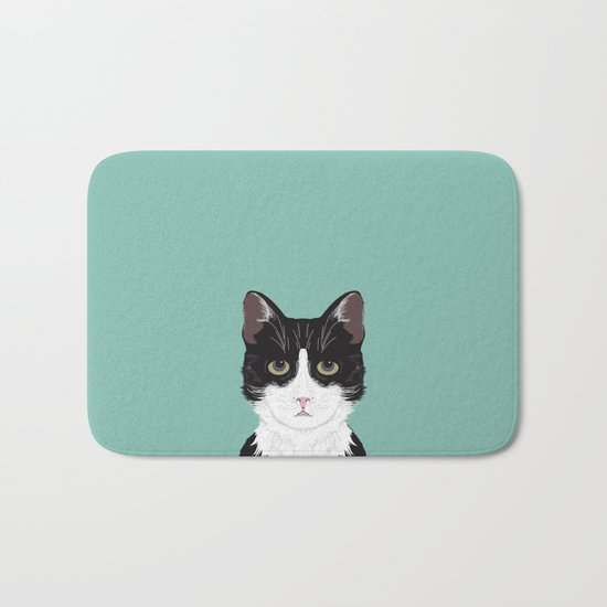 Quinn - Cute black and white cat tuxedo cat gifts for cat lady gift ideas cell phone case with cat Bath Mat