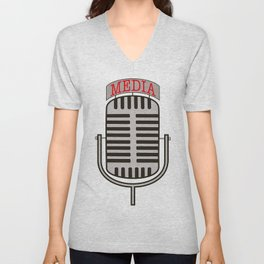 """""""Media"""", an old fashioned microphone illustrated graphic.  Unisex V-Neck"""